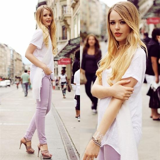 Kristina Bazan - Guess? Jeans - LAVENDER GUESSS JEANS