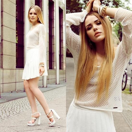 Kristina Bazan - Billabong Shirt, Zara Skirt, Vicini Heels, Sal Y Limon Bracelets - WEARING BILLABONG IN BERLIN