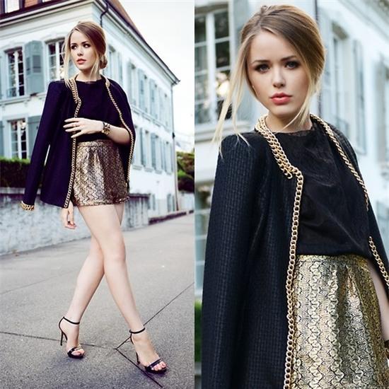 Kristina Bazan - Shorts, Hermès Brecelet - GOLD ON BLACK