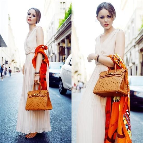Kristina Bazan - Hermès Bag, Hermès Scarf, Dress - HERMES IN MILAN + CONTEST