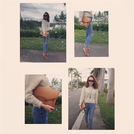 Học lỏm sao Á cách mặc quần jeans xanh thêm thu hút ngày lạnh 5