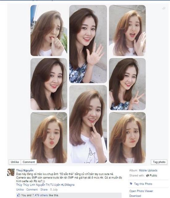 """Rất nhiều hot girls phải """"nghiêng ngả"""" vì quá yêu trào lưu selfie 50 sắc  thái. Facebook của bạn Thủy Nguyễn cũng đã lên tới gần 8000 likes """"khủng"""""""