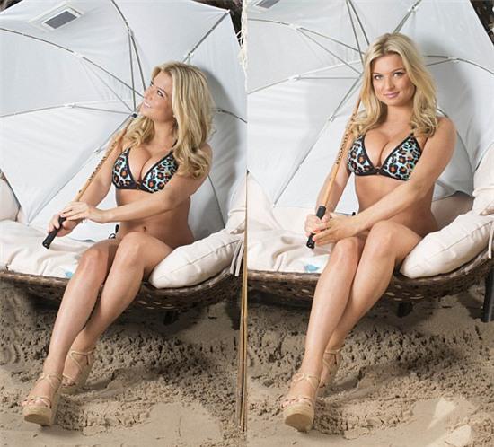 Hoa hậu Anh sex trên truyền hình khoe eo ngấn mỡ trong bộ ảnh bikini - Ảnh 3.