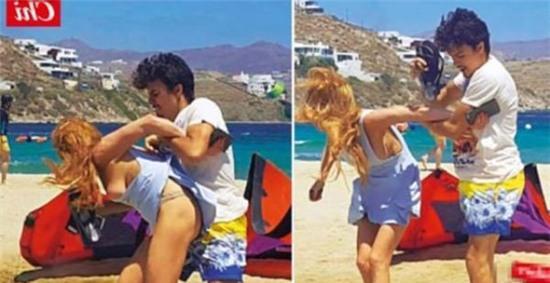 Lộ ảnh Lindsay Lohan bị hôn phu bạo hành, la mắng giữa bãi biển - Ảnh 2.