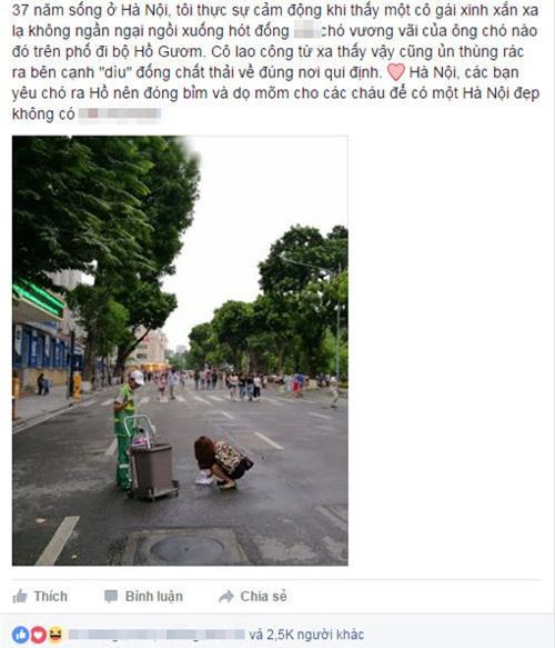 co gai tre cui xuong hot phan cho tren duong cho vao thung rac - 2