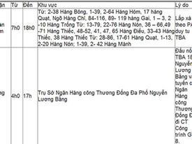 Lịch cắt điện Hà Nội ngày 18/5/2013