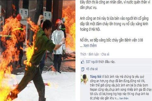 Dân mạng cảm phục hình ảnh cứu hỏa tại cây xăng