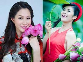 Ngẩn ngơ ngắm kiều nữ Việt e ấp bên cánh sen hồng