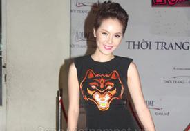 Phương Linh quyến rũ với đầm đen họa tiết đầu sói