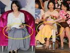 Sợ bị chụp lộ hàng, Song Hye Kyo dùng áo vest và khăn để che chắn