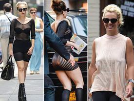 Lady Gaga mặc xuyên thấu, Britney Spears lộ ngực chảy xệ
