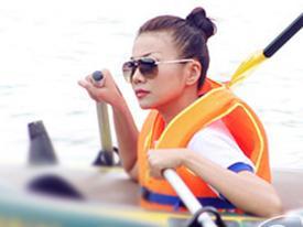 Thanh Hằng đầu trần cưỡi nắng trên sông Đà