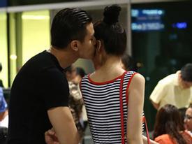 Vĩnh Thụy hôn bạn gái Thu Hằng giữa sân bay