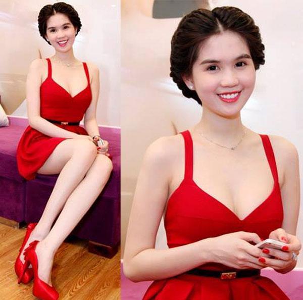 Ngất ngây những chiếc đầm đỏ của Ngọc Trinh