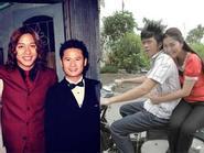 """Lộ ảnh thời tóc xoăn tít của Tuấn Hưng -  Hoài Linh """"chở bạn gái"""" bằng xe cúp cũ kỹ"""