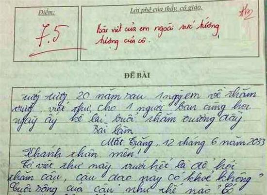 Bài văn lớp 9 'chém gió' nhận lời phê ngoài sức tưởng tượng
