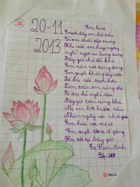 Bức thư 'em hứa' dễ thương của học sinh lớp 3