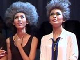 Thí sinh Vietnam's Next Top Model tái mét mặt tạo dáng trên một sợi dây