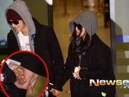 Kim Bum và Moon Geun Young nắm chặt tay tại sân bay Incheon