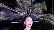 Thanh Hằng đội chim công trên đầu như nữ hoàng