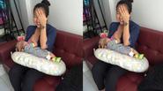 Ốc Thanh Vân 'xấu hổ' lấy tay che mặt khi cho con bú