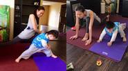 Con trai Bằng Kiều thích thú tập yoga cùng Dương Mỹ Linh