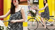 Tăng Thanh Hà thảnh thơi dạo chơi bằng xe đạp