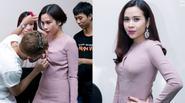 Lưu Hương Giang vội chỉnh sửa váy áo trước giờ ghi hình The Voice Kids