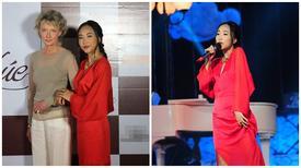 Mẹ chồng Tây tháp tùng Đoan Trang đi biểu diễn