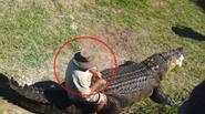 Người đàn ông vô tư chơi đùa với...Cá Sấu