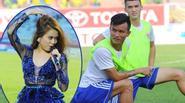 Cầu thủ V-League chăm chú xem Hoàng Thùy Linh
