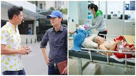 Bình Minh động viên người nhà Nguyễn Hoàng sau ca mổ não
