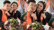 """Diễm Hương """"xì tin"""" bên chồng tại hậu trường chụp ảnh cưới"""