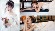 Lan Ngọc chụp ảnh cưới một mình vì Huỳnh Hiểu Minh đã có vợ