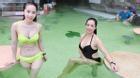 Quỳnh Nga, Thuý Hằng diện bikini giữa trời lạnh 12 độ xứ Hàn