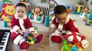 """""""Tan chảy"""" với khoảnh khắc yêu của con trai Vy Oanh khi diện đồ ông già Noel"""