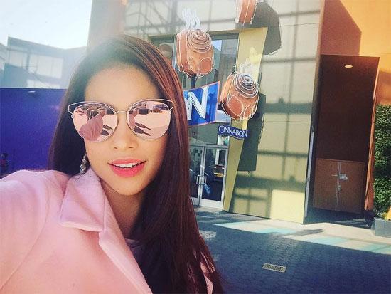Hoa hậu Phạm Hương mặc sang chảnh ở trời tây - Ảnh 3