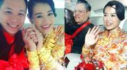 Hồ Hạnh Nhi tay đeo trĩu vàng trong ngày cưới