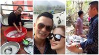 Vợ chồng Jennifer Phạm người bê, kẻ rửa bát khi đi lễ Chùa Hương
