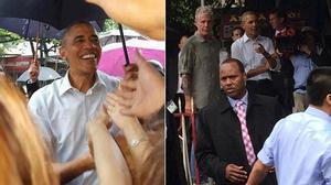 Tổng thống Obama dừng xe giữa trời mưa, thăm hỏi người dân làng Mễ Trì Hạ