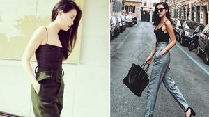 """Hoàng Thùy Linh, Kỳ Duyên """"trổ tài"""" mặc áo dây gợi cảm với street style tuần qua"""