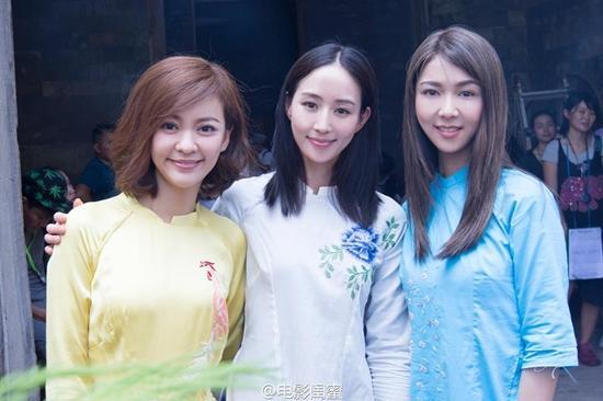 Trương Quân Ninh khoe sắc với áo dài, dự lễ khai máy phim của Trần Bảo Sơn