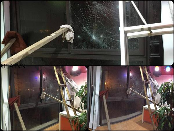 Gió giật khiến nhiều cửa kính nứt vỡ