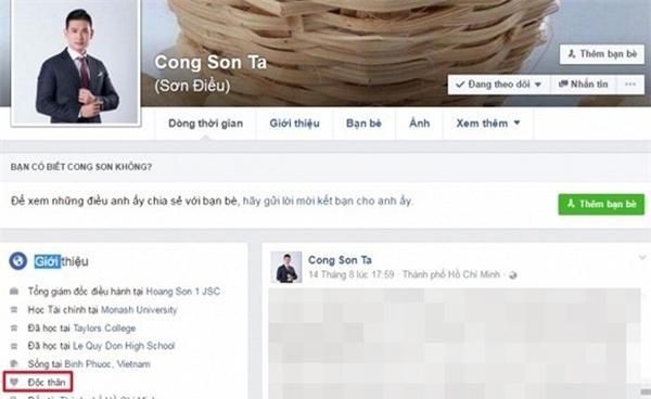 Sơn điều để trạng thái độc thân trên facebook