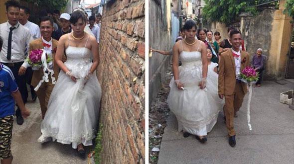 Cặp đôi chú rể tí hon cười tít mắt bên cạnh cô dâu đồ sộ mặt như mất sổ gạo gây bão mạng