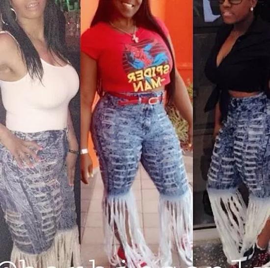 Chiếc quần jeans rách tua rua của cô gái xứng danh