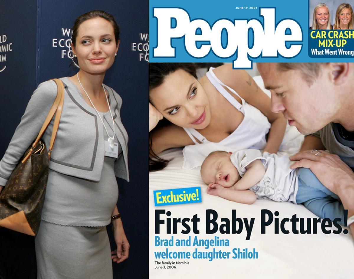 Năm 2005, Angelina mang thai đứa con đầu lòng của Brad. Năm 2006 đứa con ruột đầu tiên của họ chào đời là bé gái Shiloh. Trước đó, năm 2002, Jolie đã nhận nuôi Maddox Chivan ở một trại mồ côi tại Campichia khi cậu bé chỉ mới 7 tháng tuổi - đứa con nuôi duy nhất của cô với chồng cũ Billy Thornton.