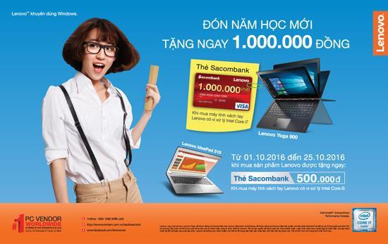 Tặng ngay 1 triệu khi mua máy tính Lenovo
