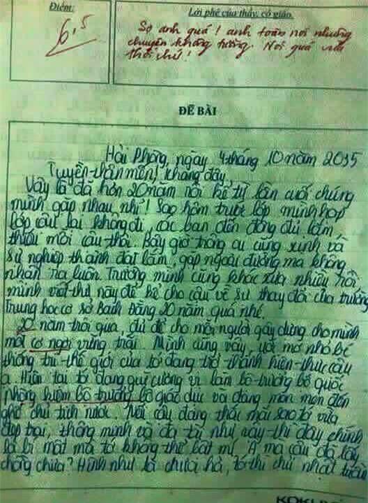 bức thư, bức thư năm 2035, nam sinh đất Cảng