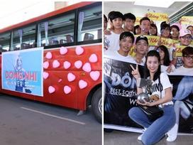 Fan thuê xe khủng đón Đông Nhi trở về từ Châu Âu